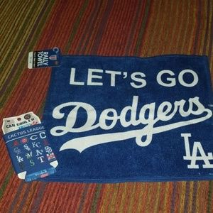 Dodgers rally towel & can cooler- NWT